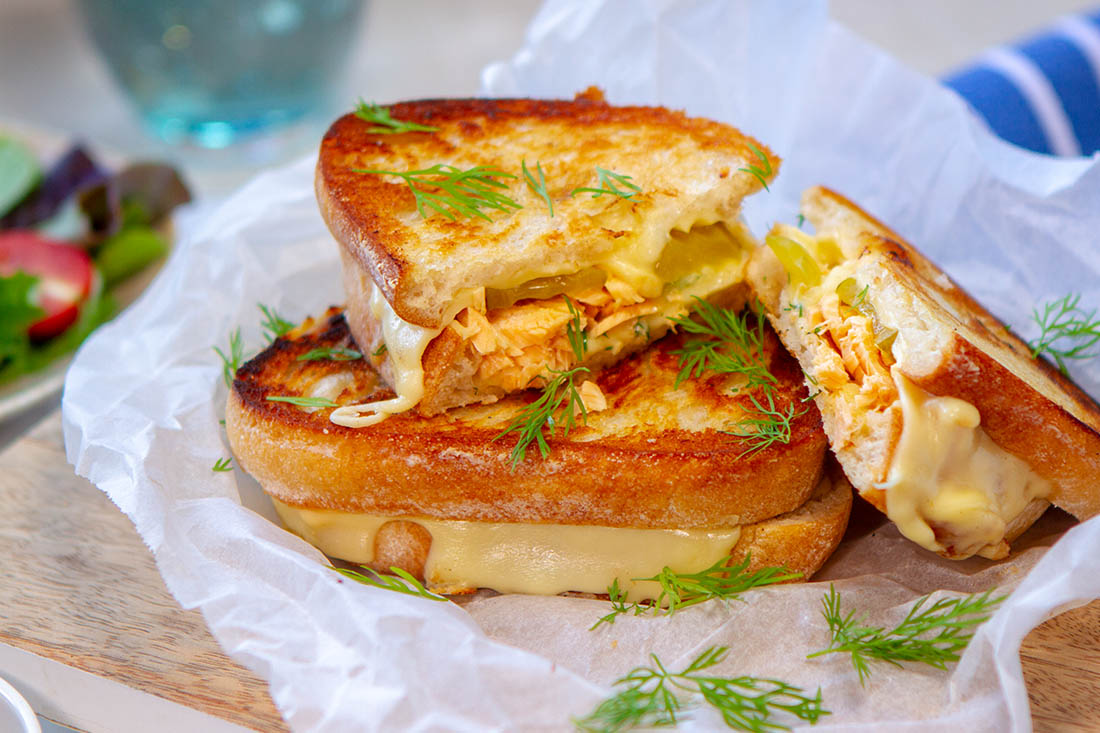 salmon pickle toastie