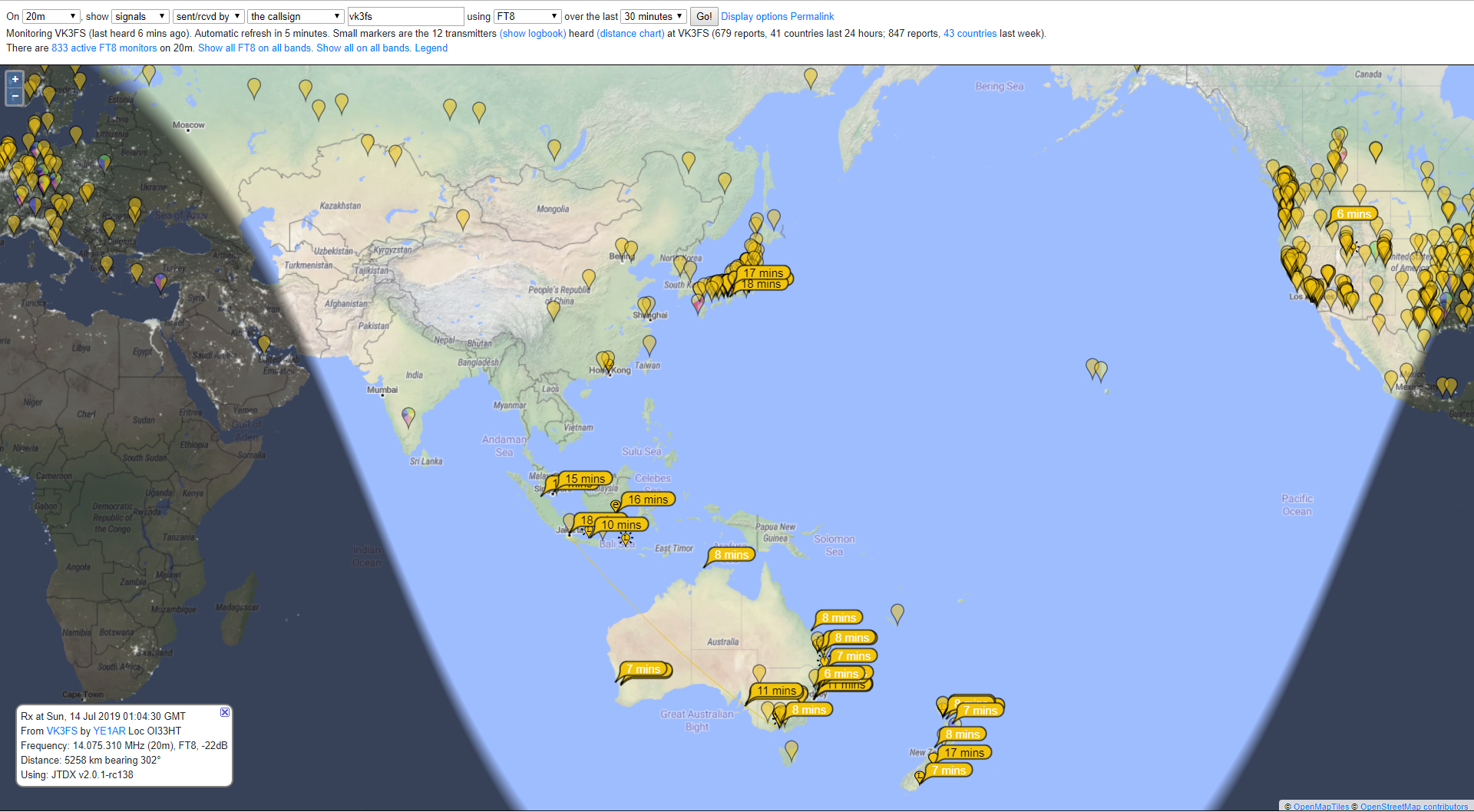 FT8 - PSKreporting map for 20m band.