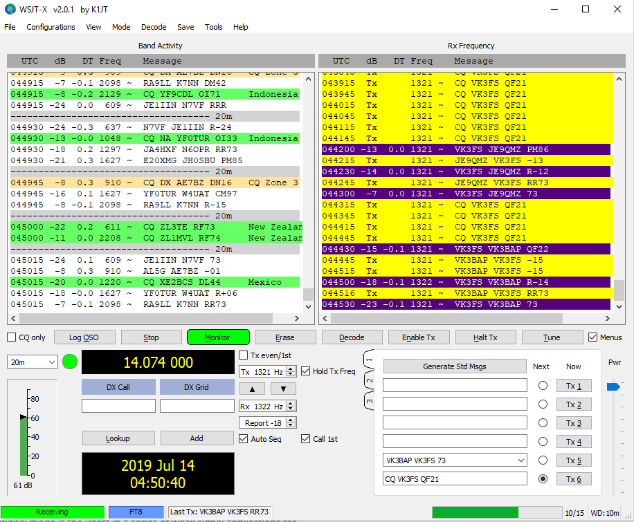 WSJT-X Program working screen