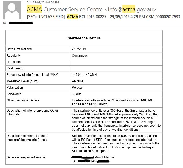 ACMA interference email response