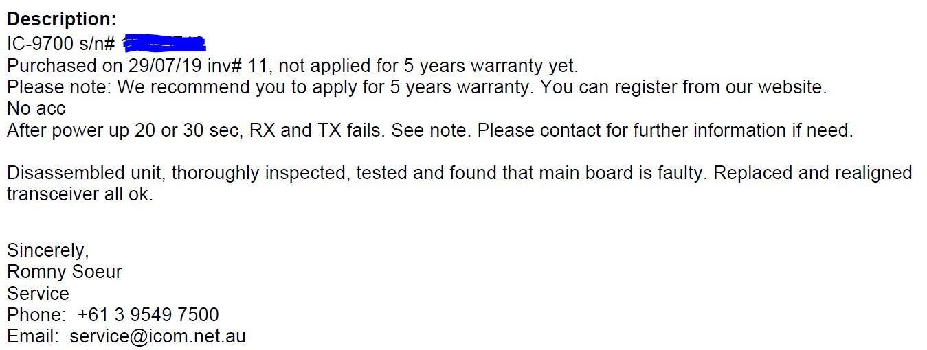 IC-9700 service resolution