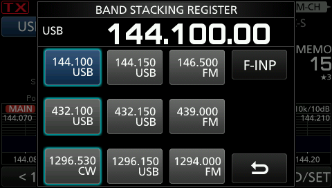 IC-9100 Band Stacking Register