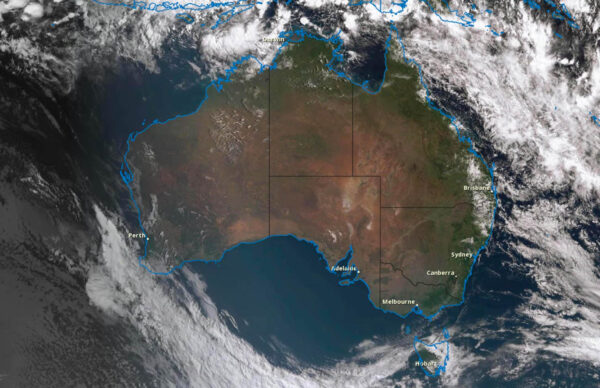 Satellite image of Australia with a cloud free bight