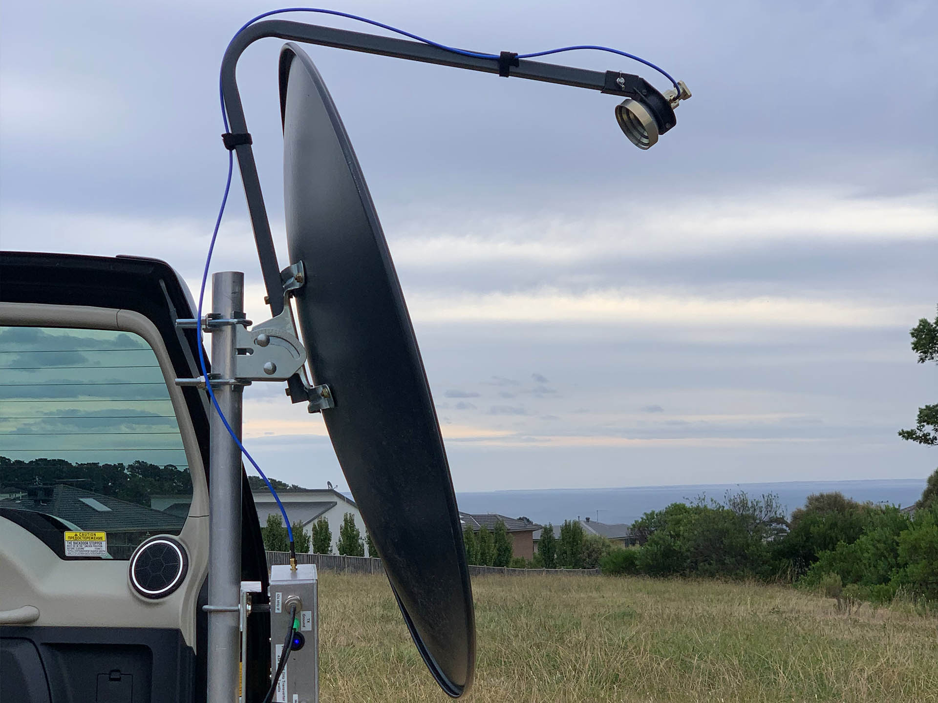 Picture of W1GHZ 10/24 GHz horn mounted on a 750mm offset dish