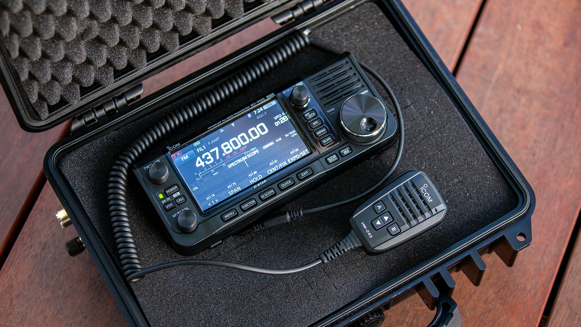 Icom IC-705 All Mode Transceiver Pelican case style storage option