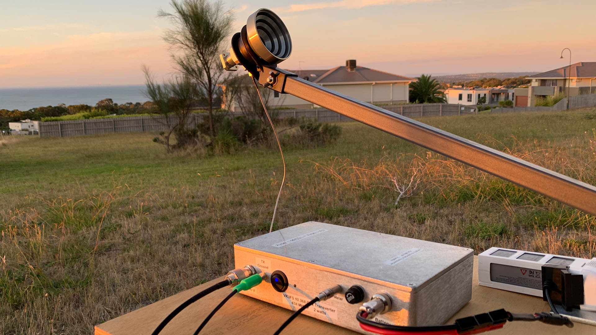 Picture of 10 GHz Amateur Radio Transverter and W1GHZ feed horn