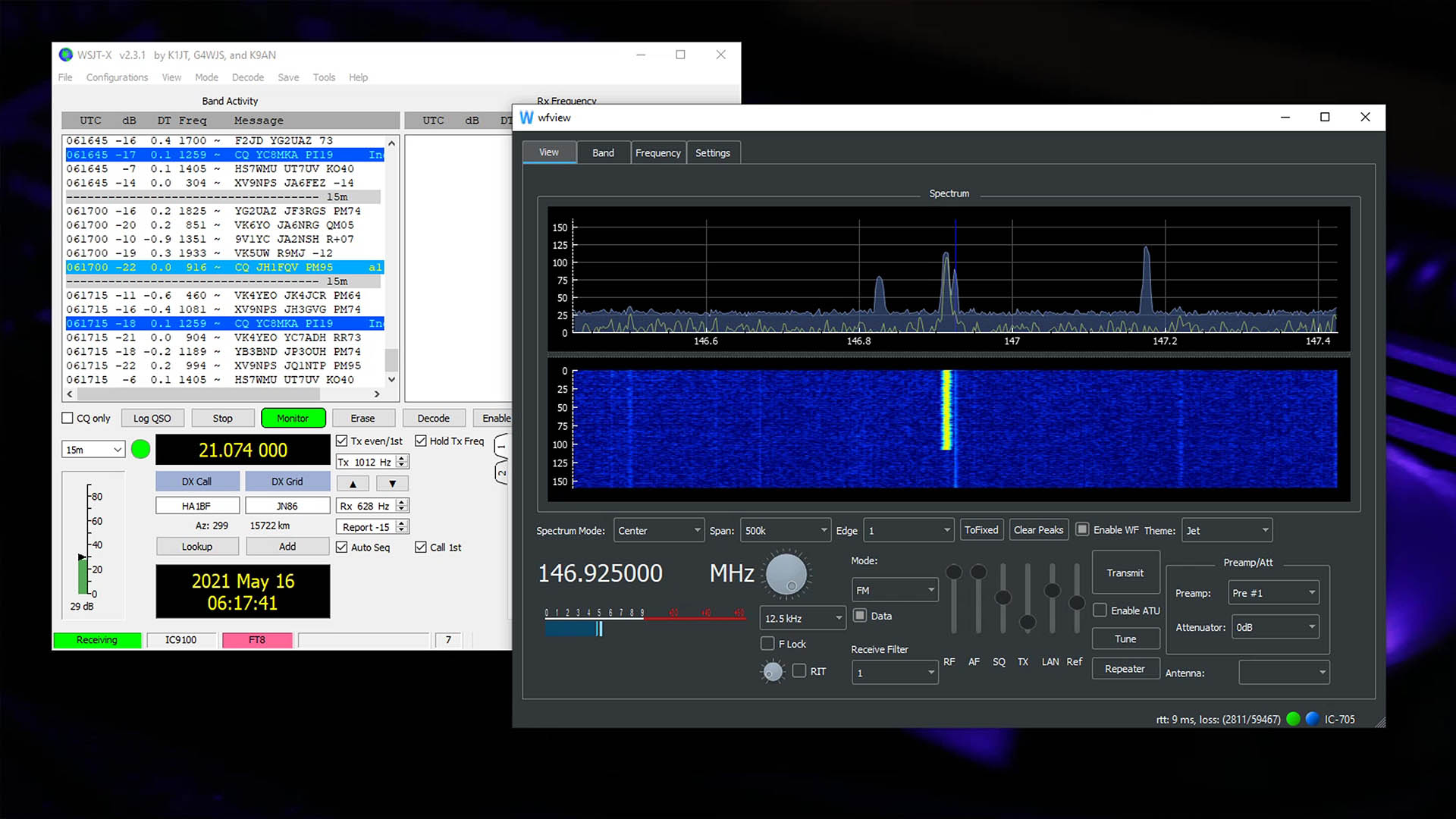 Image of WSJT-x and wfview desktop