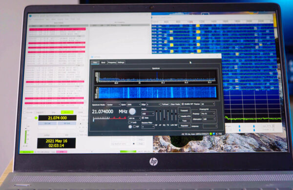 Picture of HP Laptop operating WSJTX on the IC-705 wirelessly using wfview